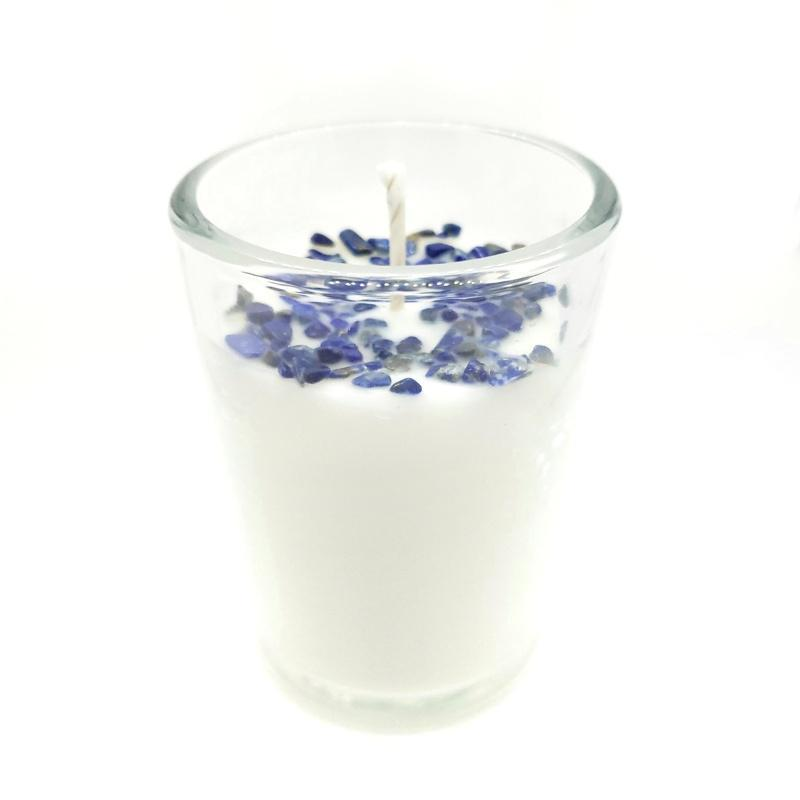 Candle 8oz - Lapis Lazuli (Enlightened) Clear Glass by Bee Lucia