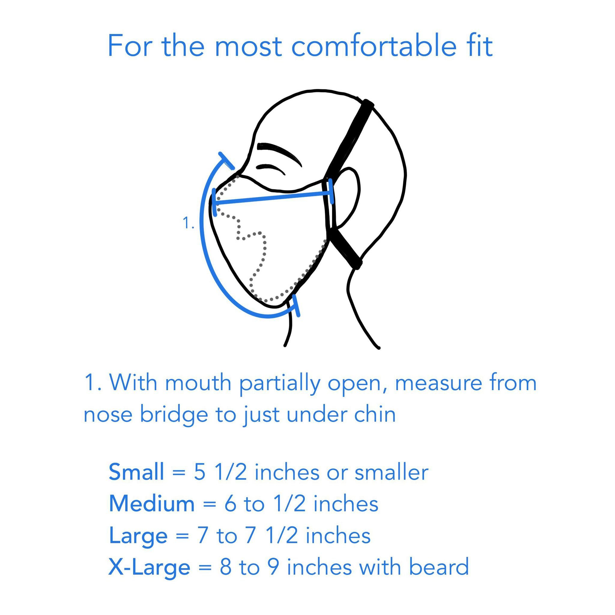For best fit, measure from top of nose to just under chin - thehandmadeshowroom.com