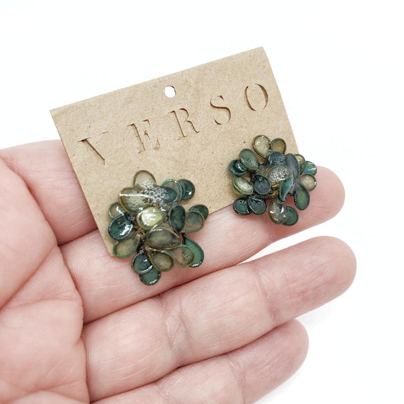 Earrings - Large Emerald Hydrangea by VERSO