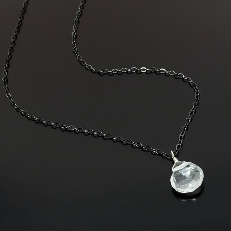 Necklace - Gemstone Drop White Topaz by Foamy Wader