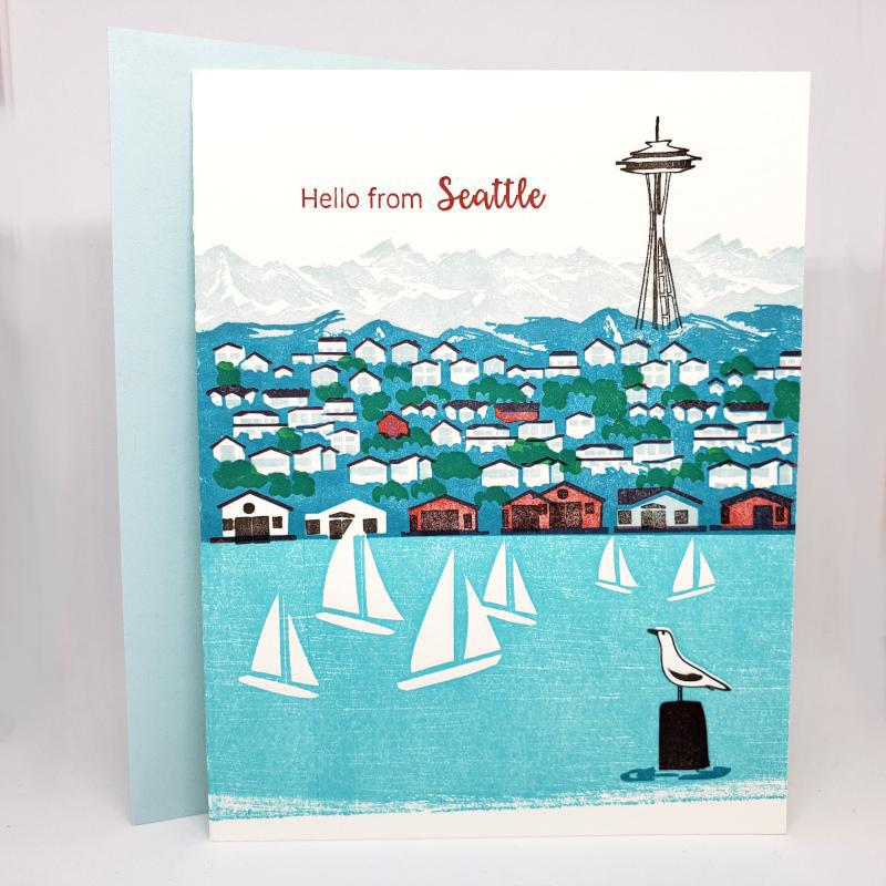 Card - Seattle - Seattle View Hello From Seattle by Ilee Papergoods
