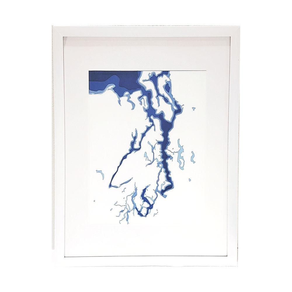 Framed Art - Hand Cut Puget Sound Topographic Wall Art by Crafterall