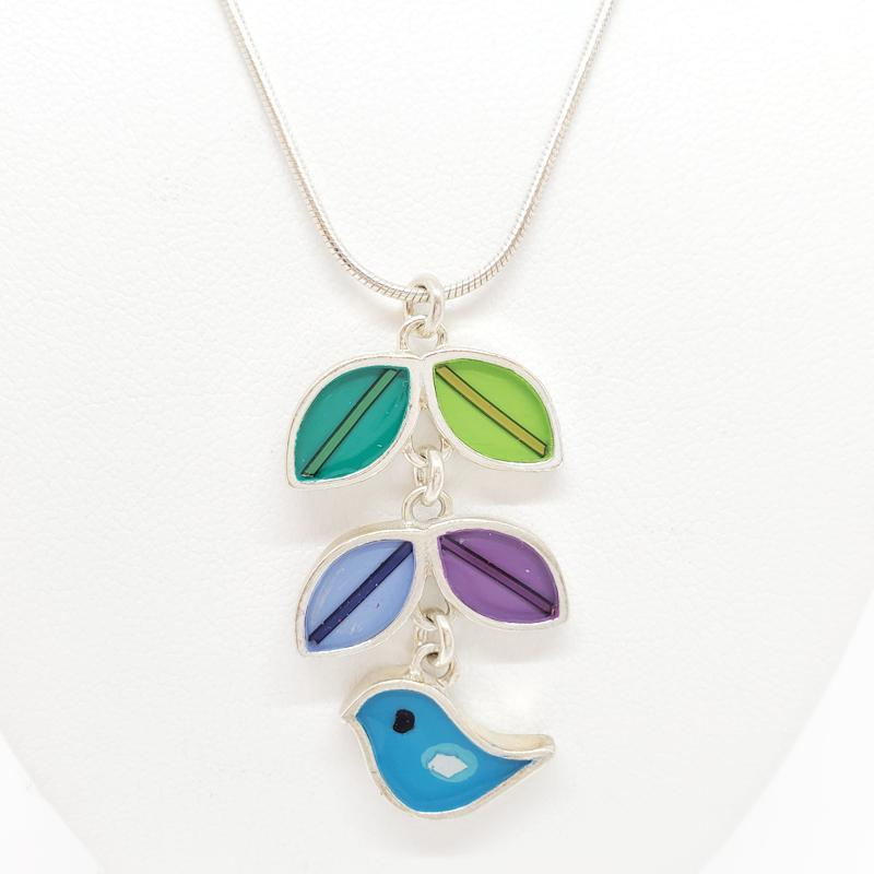 Necklace - Blue Bird of Happiness by Happy Art Studio