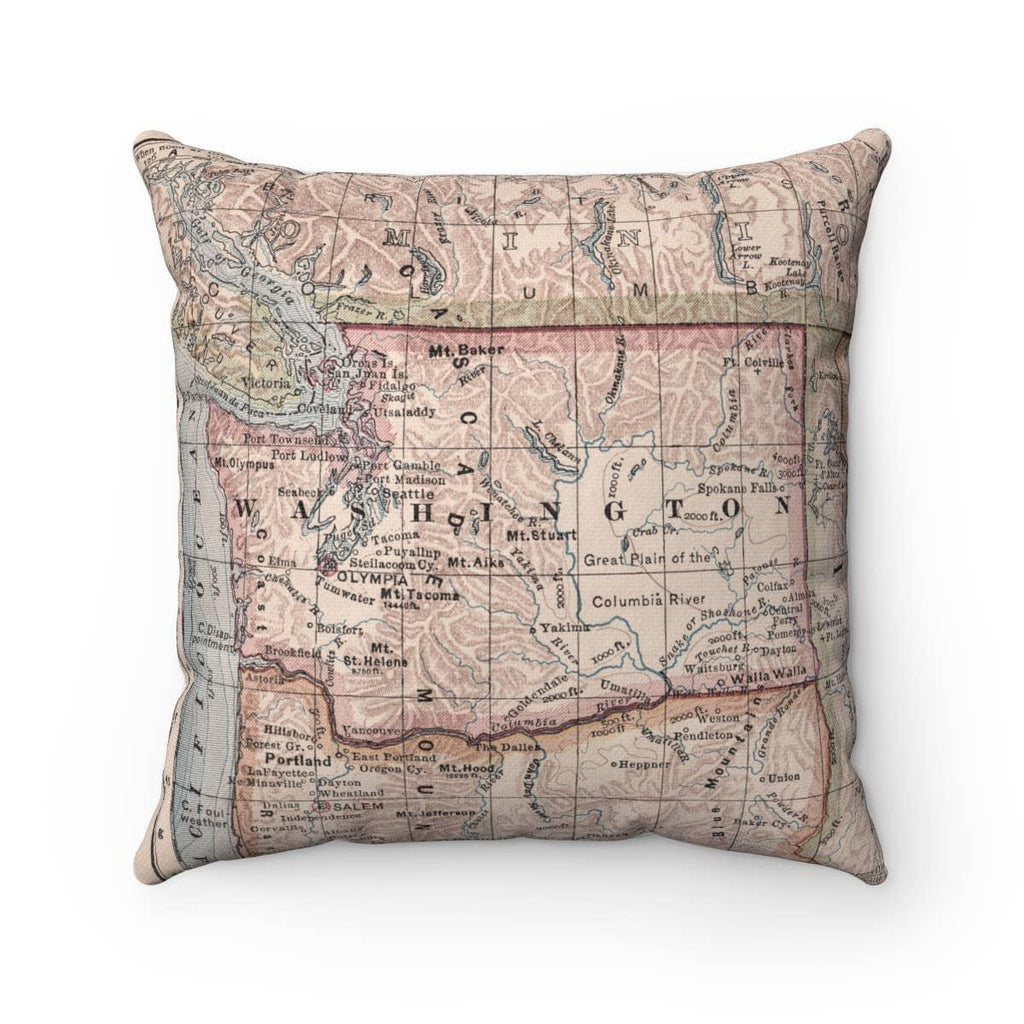Pillow - Washington State Vintage Map by Daisy Mae Designs