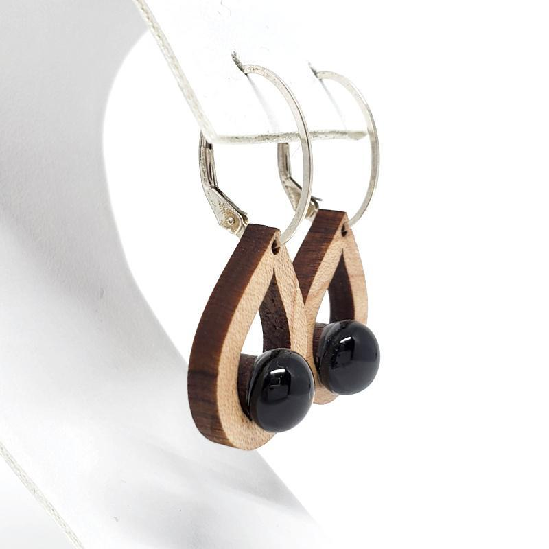 Earrings - Small Teardrop Maple Black Glass by Glass Elements