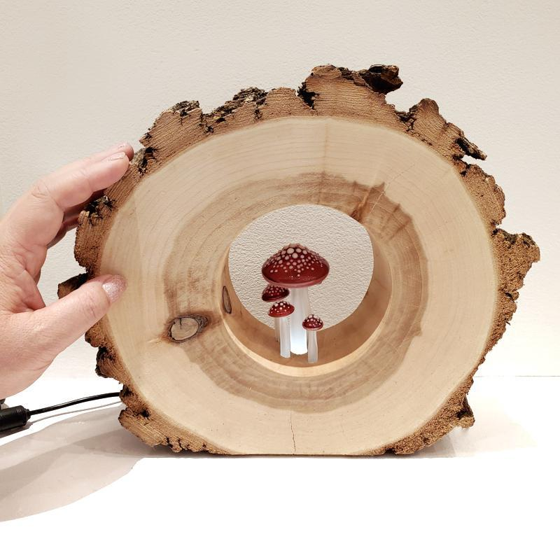Lamp - Large Round Willow Red Mushrooms by Sage Studios