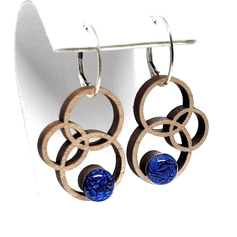 Earrings - Small Orbit Maple Cobalt Cab by Glass Elements