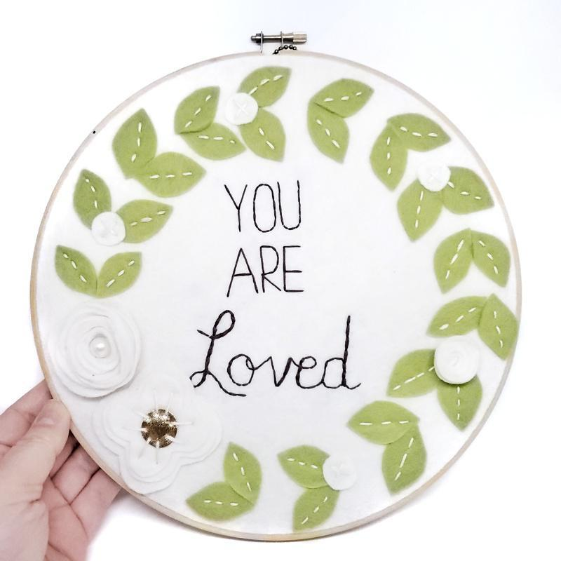 Hoop Art - You Are Loved White 10in by Catshy Crafts