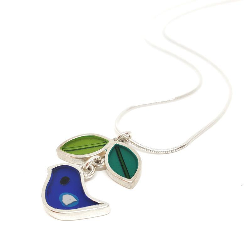 Necklace - Dark Blue Bird Leaf by Happy Art Studio