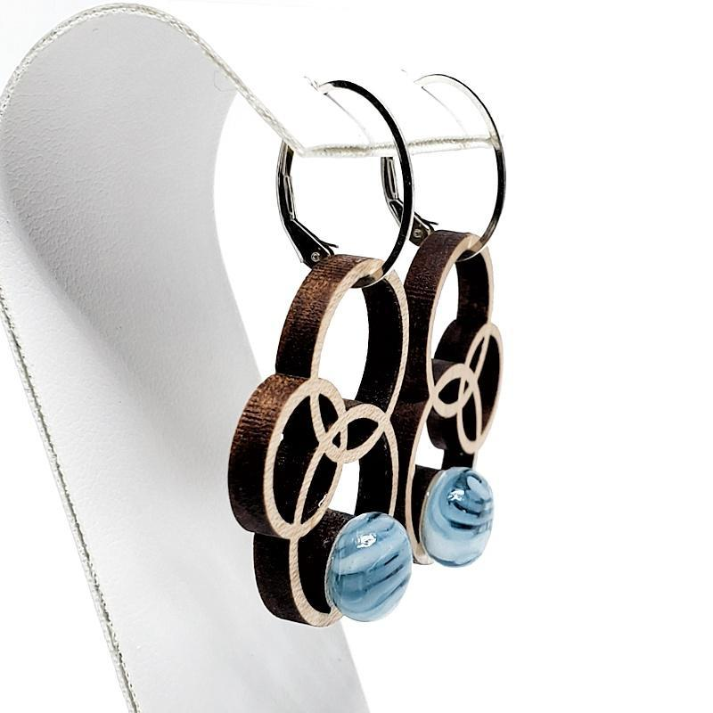 Earrings - Medium Orbit Maple Blue Swirl by Glass Elements