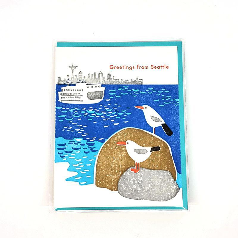 Card - Seattle - Seagulls Greetings Seattle by Ilee Papergoods