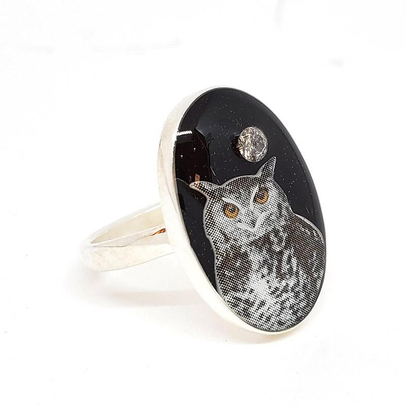 Ring - Size 7 - Owl with Salt and Pepper Diamond SS by XV Studios