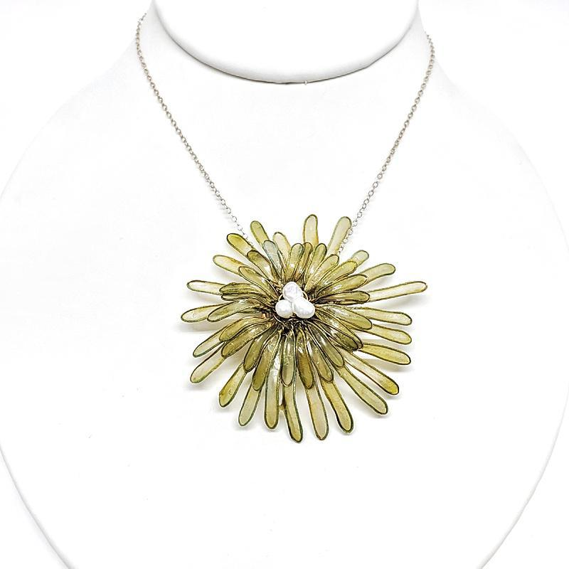 Necklace - Green Chrysanthemum with Freshwater Pearls by VERSO