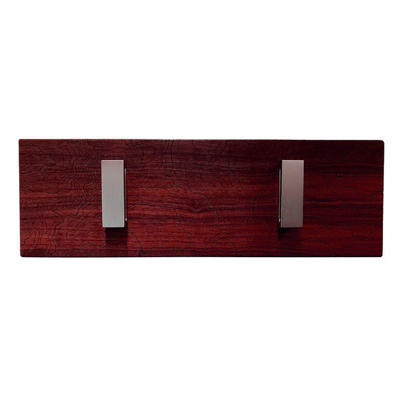 Coat Rack - Red Wood - Double Hook Mt Rainier Topography by SML