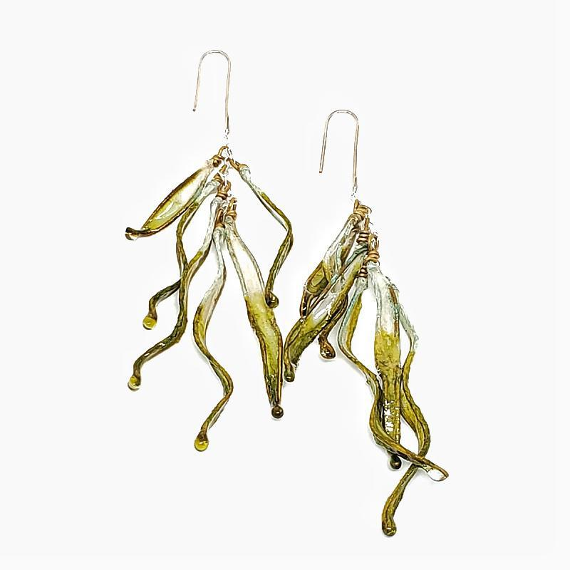 Earrings - Large Petal Drops Moss Green Ombre by Verso