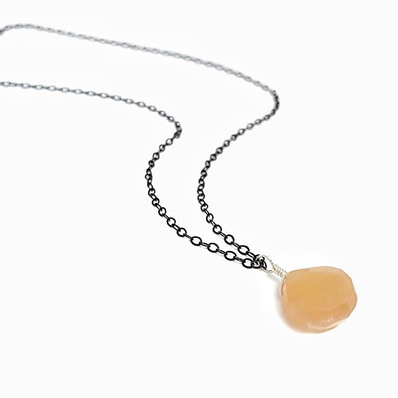 Necklace -Peach Moonstone Drop Oxidized Chain by Foamy Wader