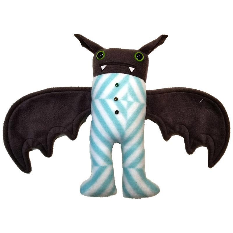 Pajama Bat - Aqua White Stripes (Green Eyes) by Careful it Bites
