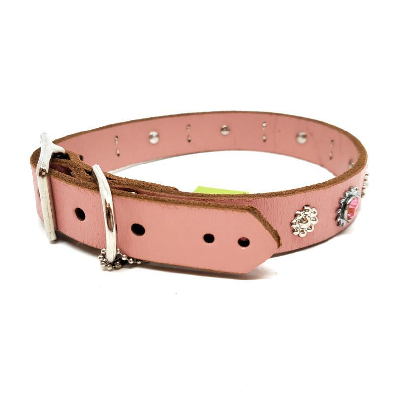 Dog Collar - L - Pink with Pink Crystals by Greenbelts