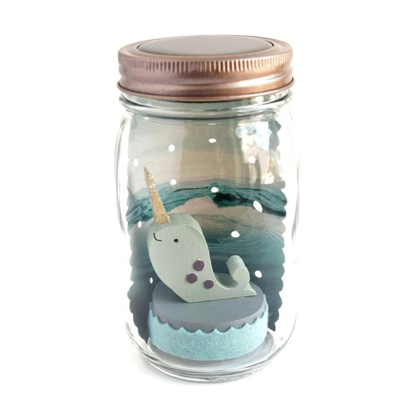 Solar Light - Mason Jar Narwhal by Tree by Kerri Lee