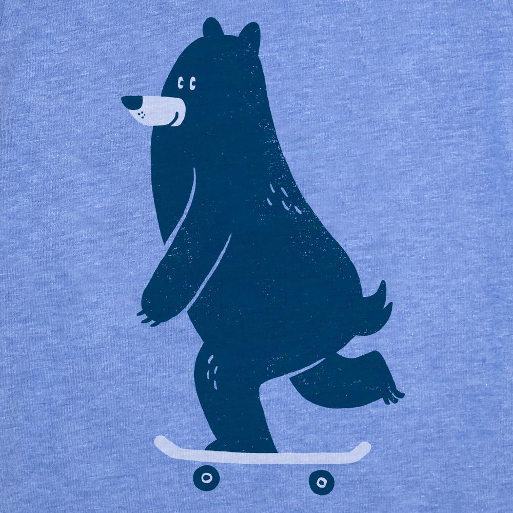 Kids BEAR on Skateboard (B) T-shirt Triblend Blue by Factory 43