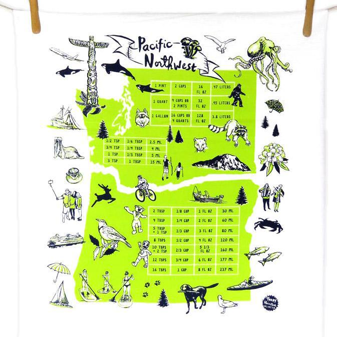 Tea Towels - Pacific NW Green by Oliotto
