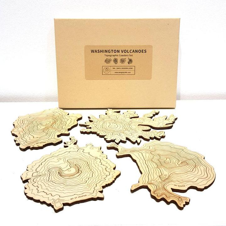 Coasters Set - WA Volcanoes Topographic Coasters (boxed set of 4) by SML