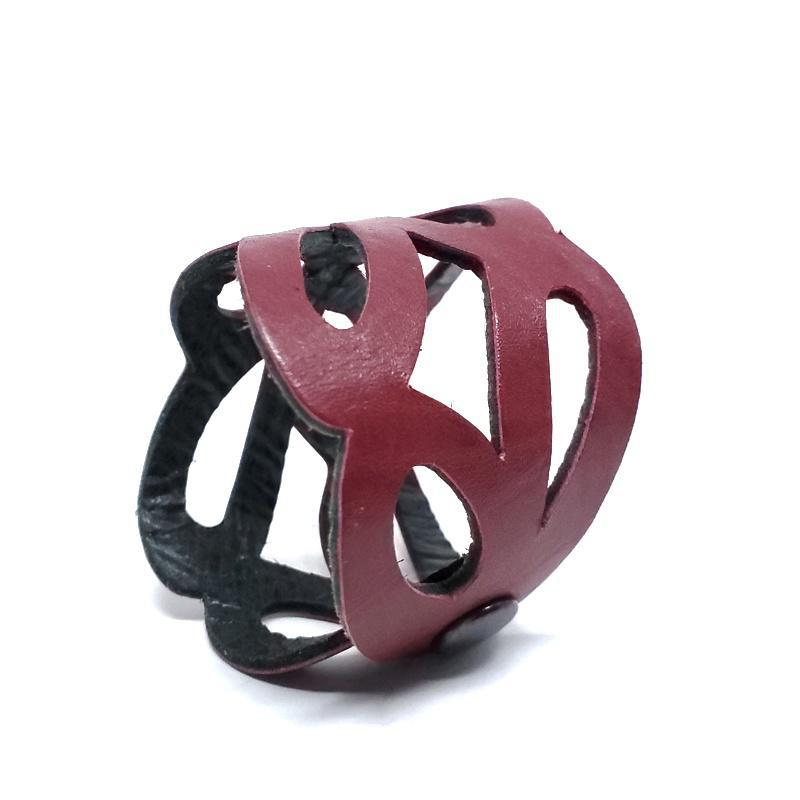 Cuff - Butterfly Cranberry Black Leather by Oliotto