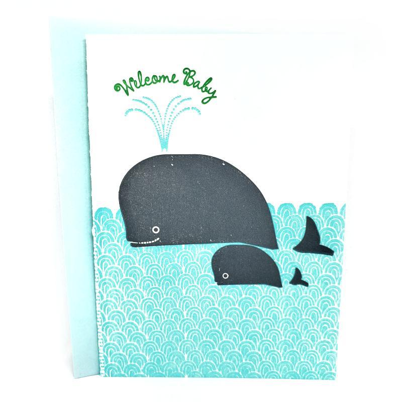 Card - Baby - Whales Welcome Baby by Ilee Papergoods