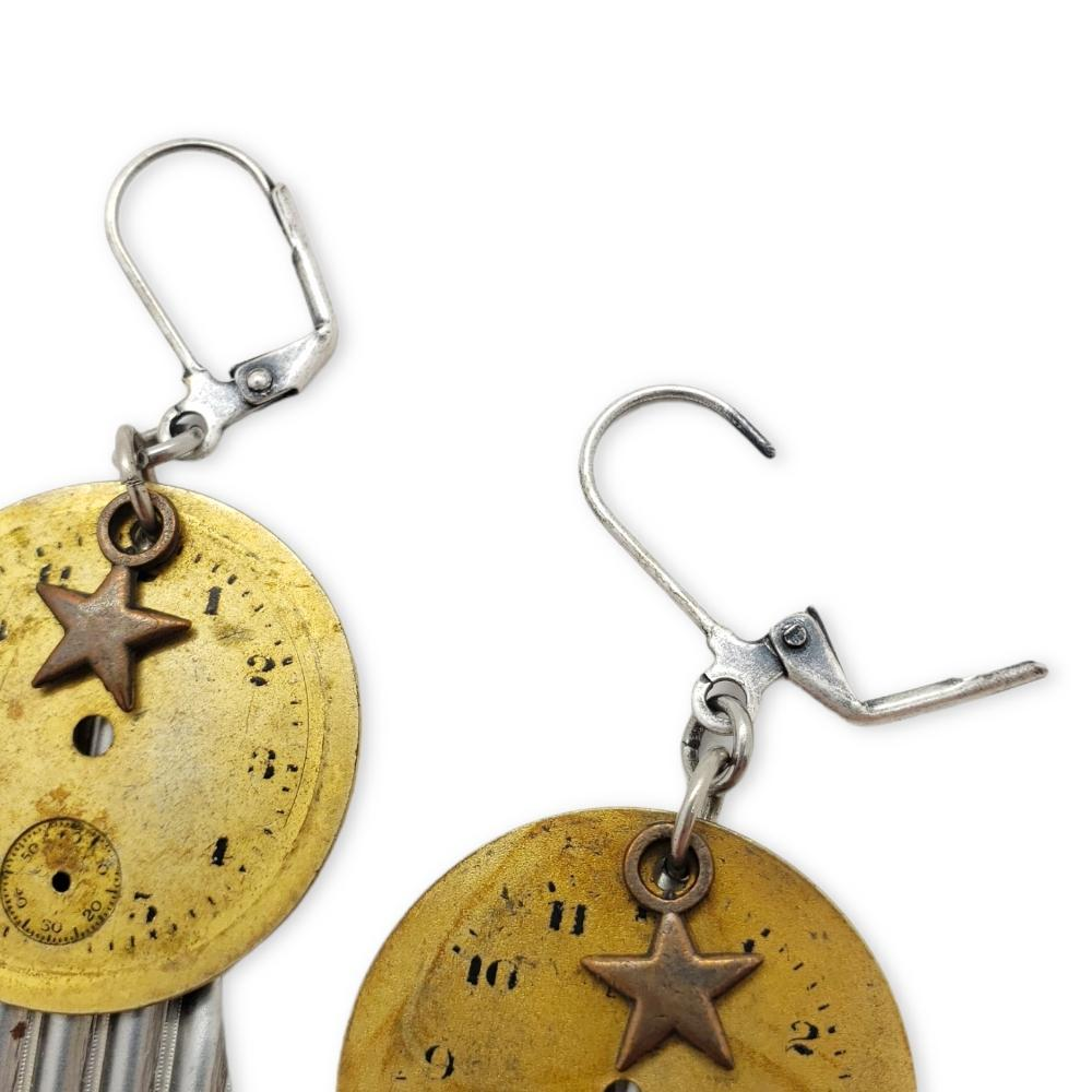 Earrings -  Star and Round Watch Dial Trio by Christine Stoll Studio