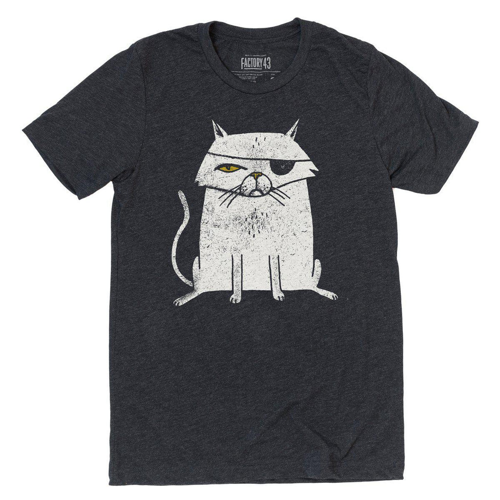 Adult EVIL CAT(C) Crew Neck Tee Triblend by Factory 43