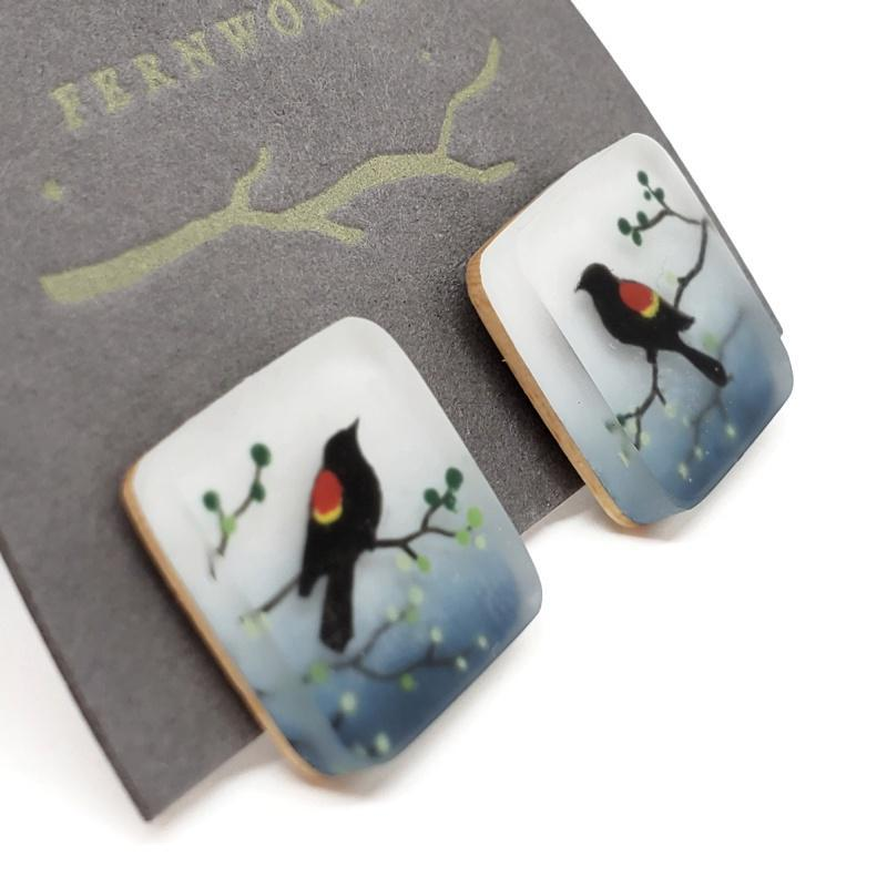 Earrings - Red Wing Blackbird Studs Earrings by Fernworks