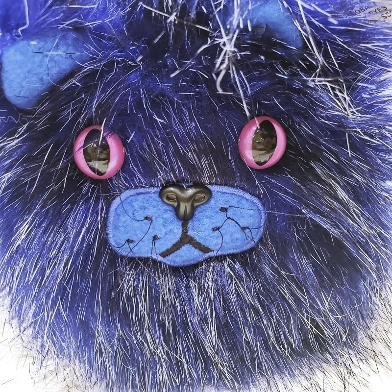 Catball - Cobalt with Pink Eyes by Careful It Bites