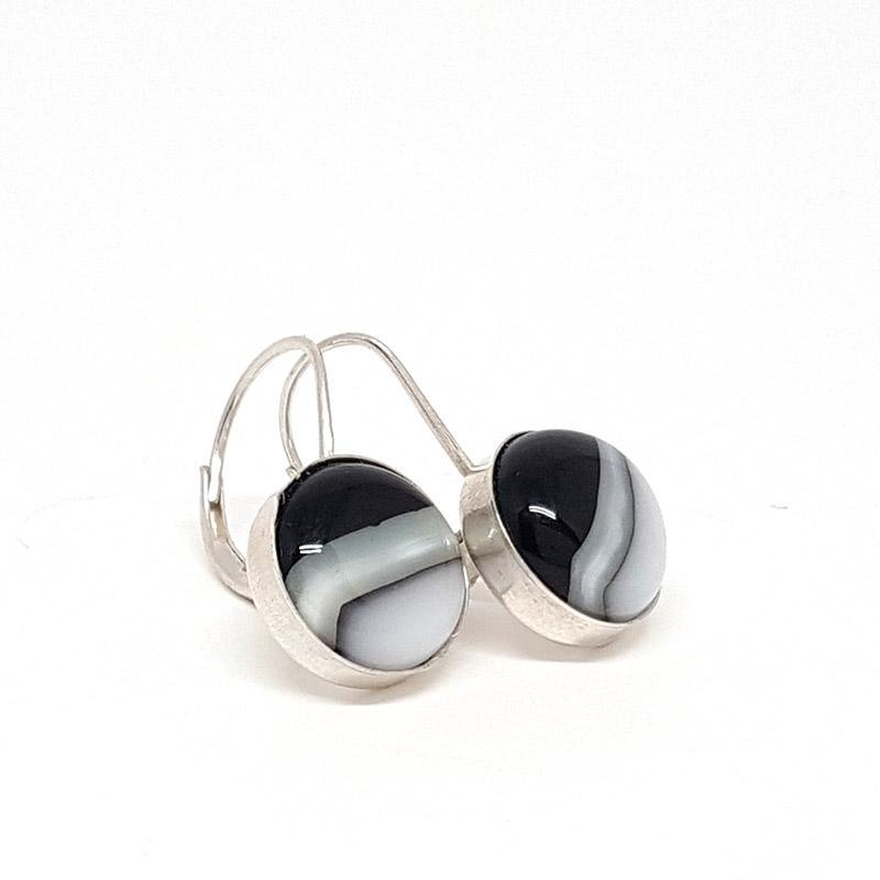 Earrings - Black and White Leverback by Glass Elements