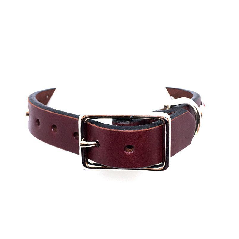 Dog Collar - Sm/Med - Burgundy w/Red Gems by Greenbelts