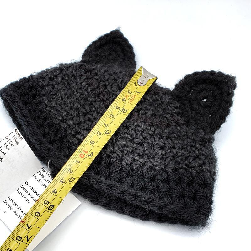 Infant Hat - Black Gray Cat By Scary White Girl