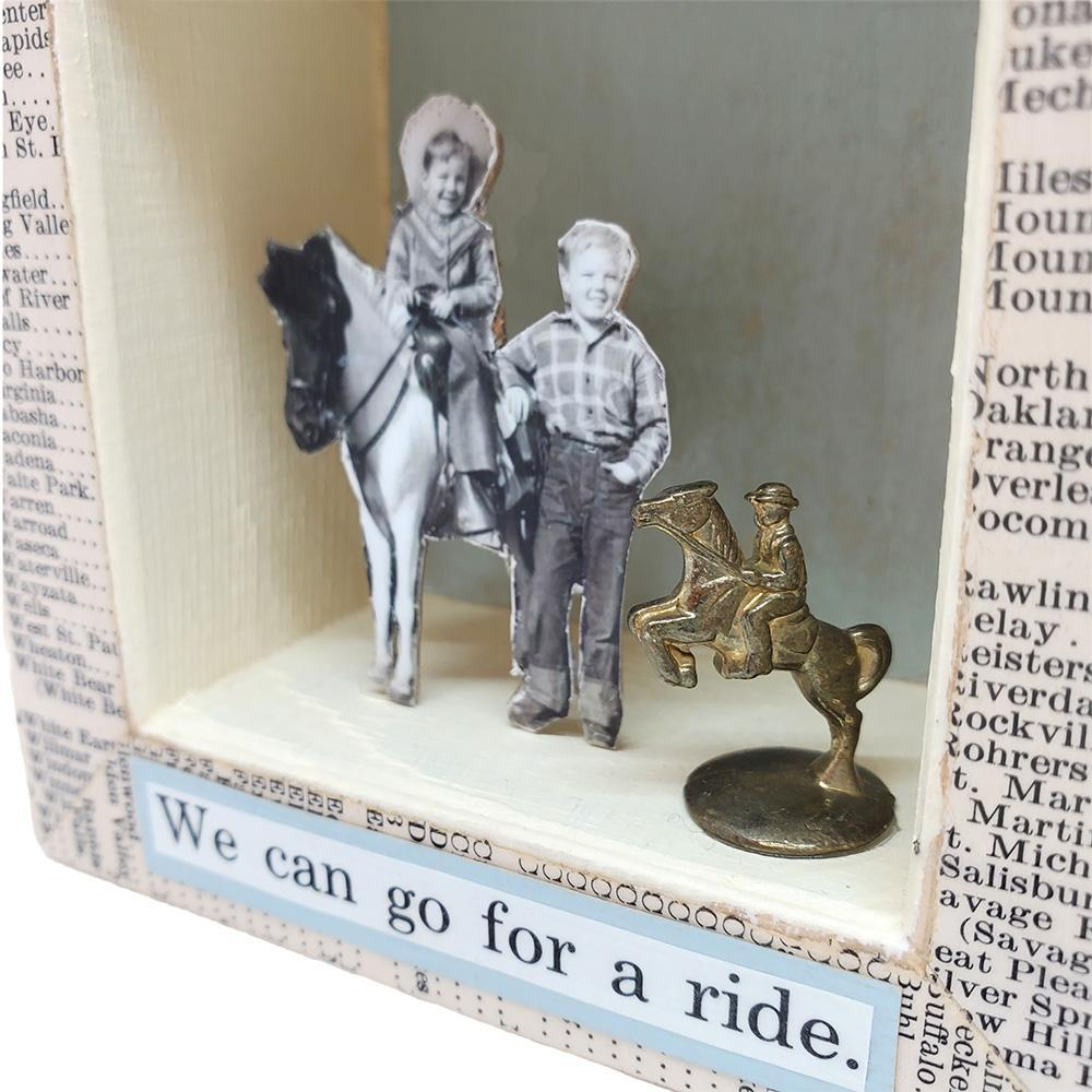 Shadowbox #6 - 4x4 - The Wild West (horse) Collage by Christine Stoll Studio