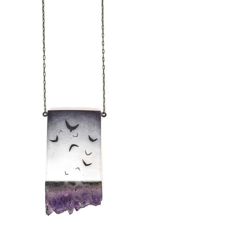 Necklace - Flock Amethyst Crystal by Fernworks