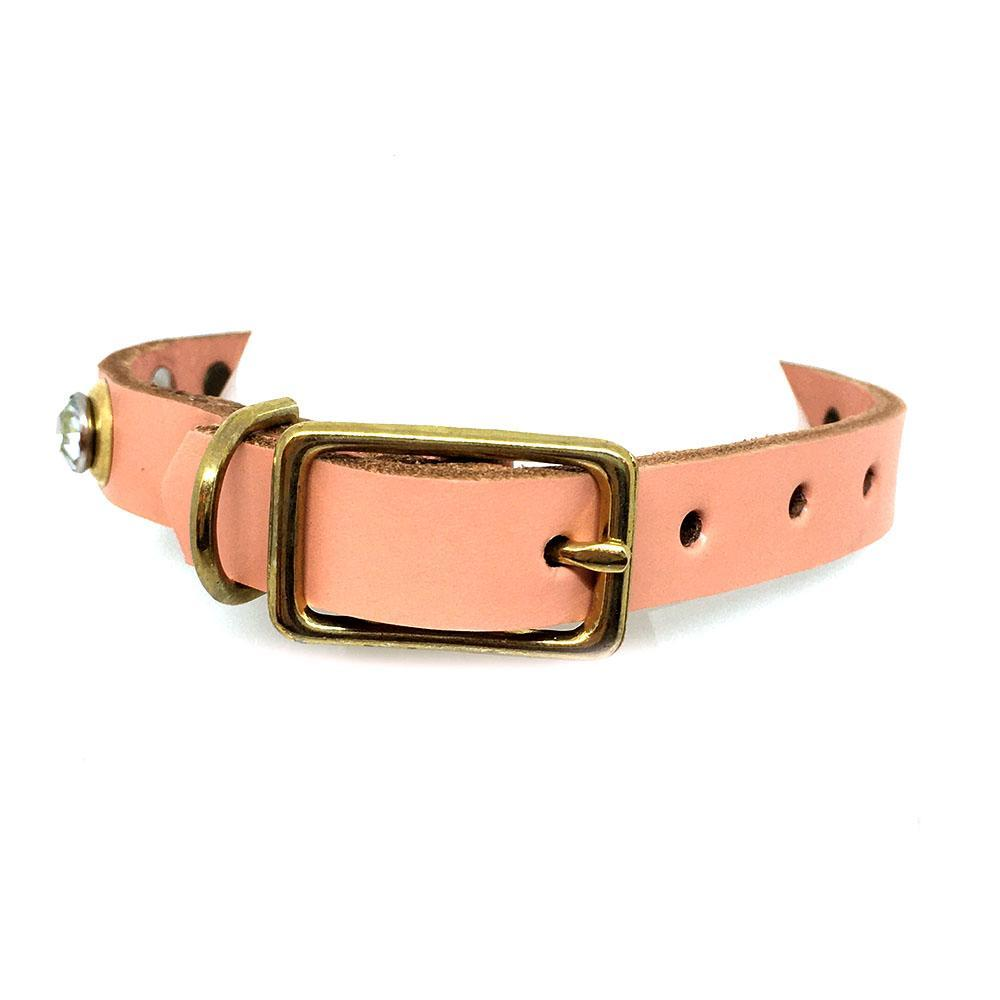 Dog Collar - Sm Pink with Gold and Gems by Greenbelts