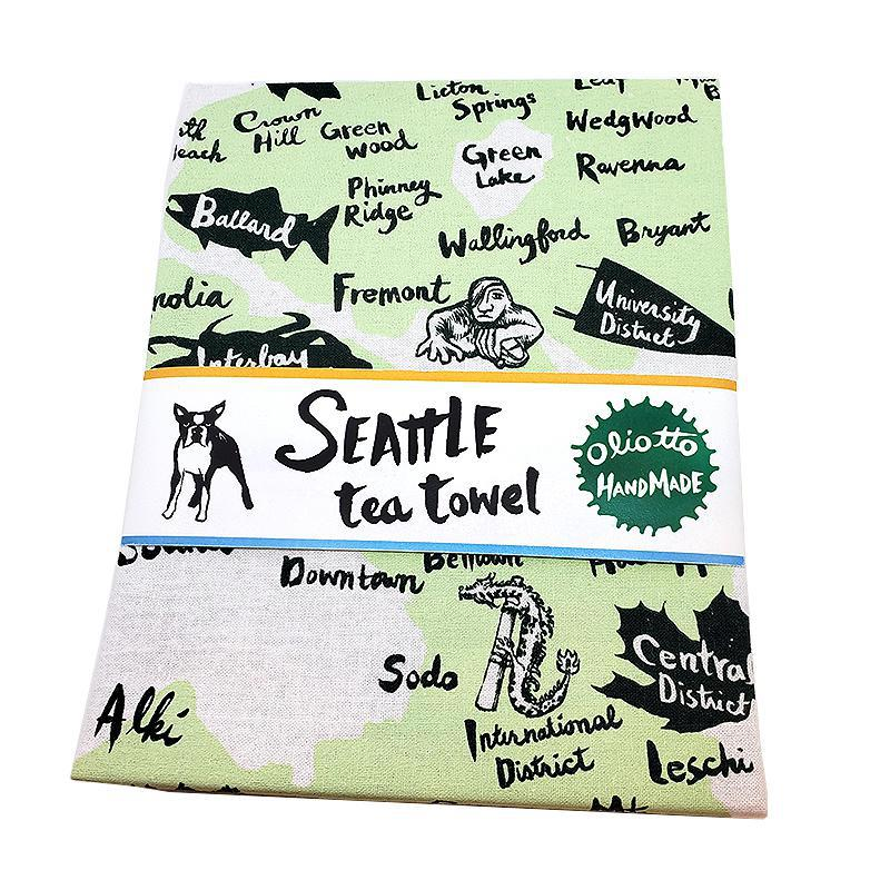 Tea Towels - Seattle Green by Oliotto