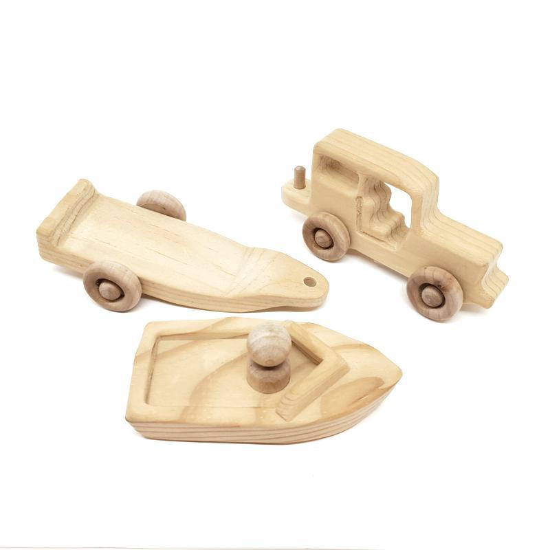 Mini Car - Jeep and Boat 3 piece set by My Grandpa's Wooden Toys