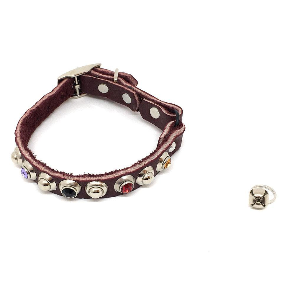 Cat Collar - Brown with Colorful Gems by Greenbelts