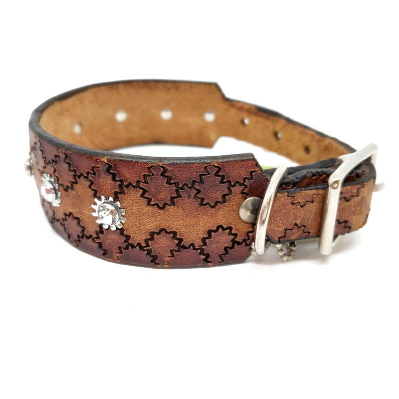 Dog Collar - Sm/Med - Wide Brown with Crystals by Greenbelts