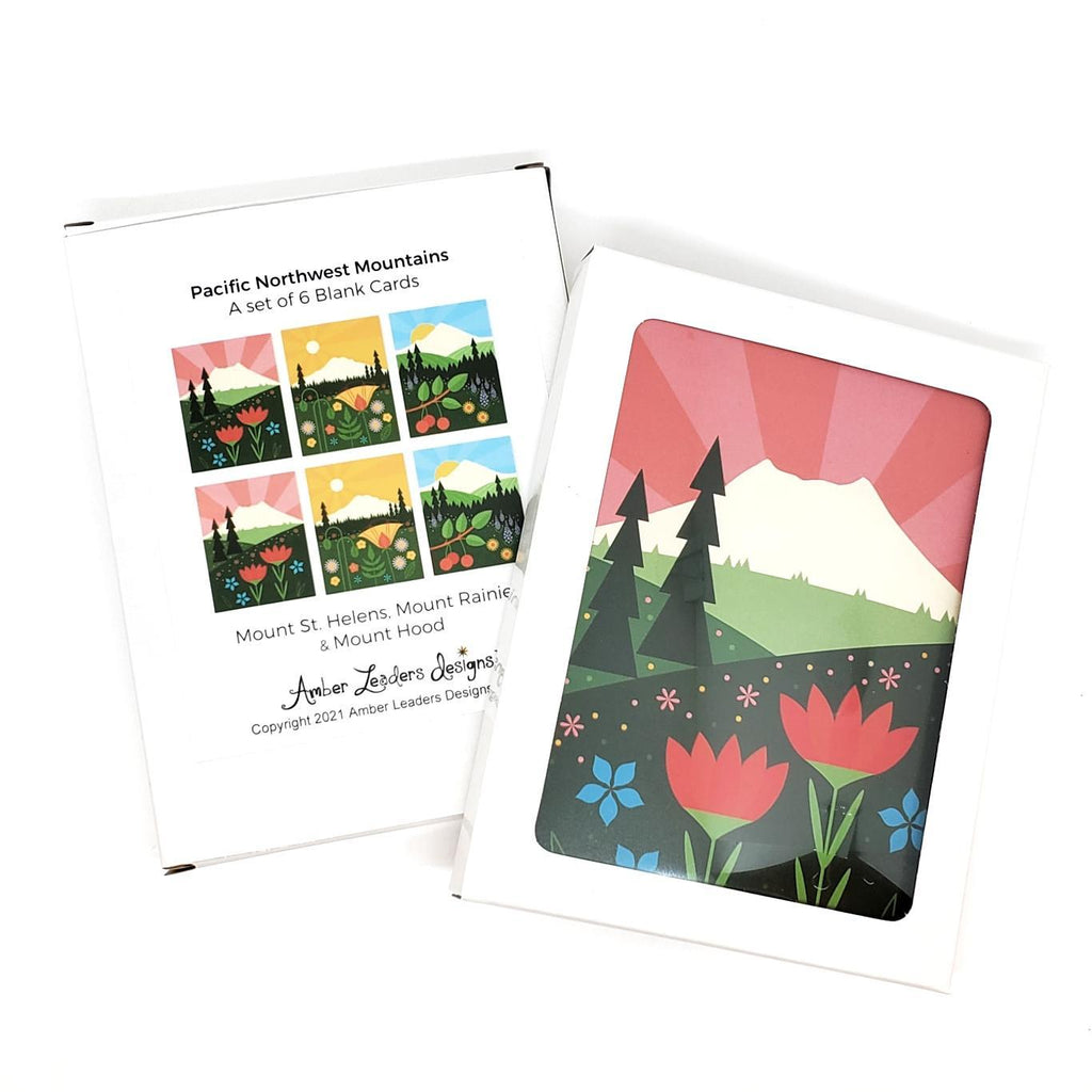 Card Set - Set of 6 Pacific NW Mountains by Amber Leaders Designs