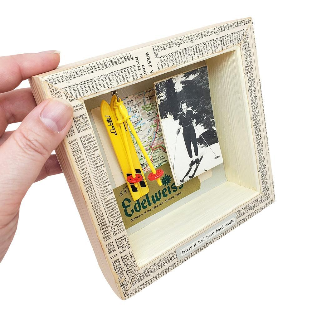 Shadowbox #1 - 6x6 - Edelweiss (skis) Collage by Christine Stoll Studio