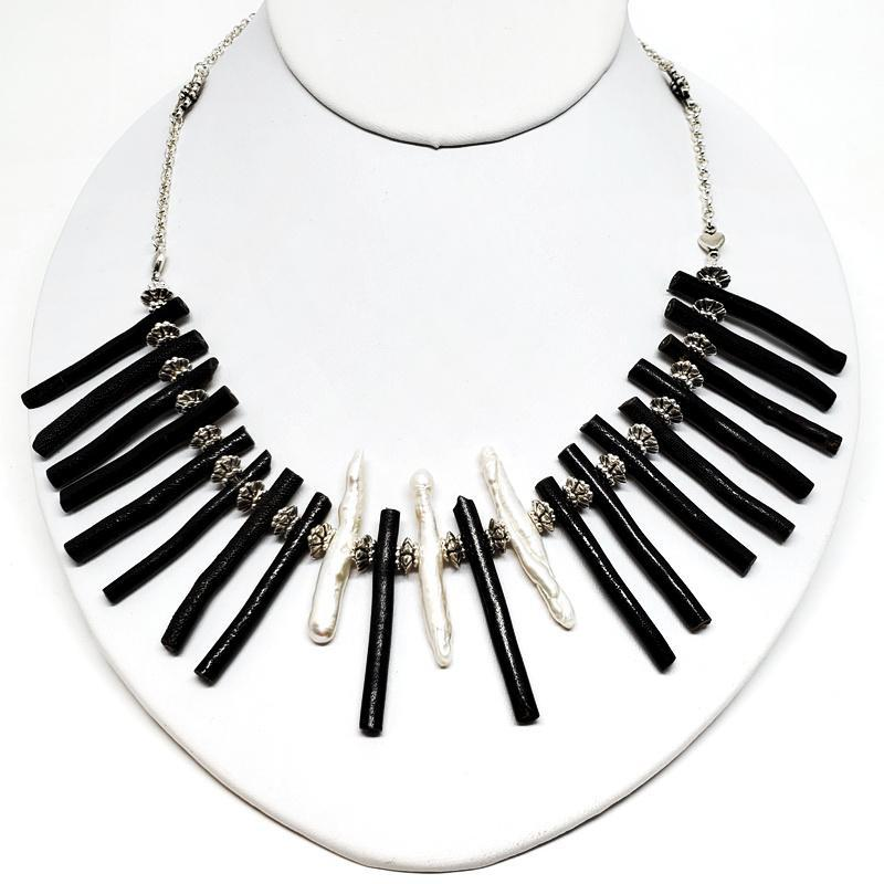 Necklaces - Black Coral Bib Silver Plate chain by Tiny Aloha