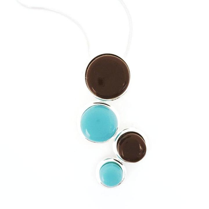 Necklace - Large Cascade Blue Brown by Glass Elements
