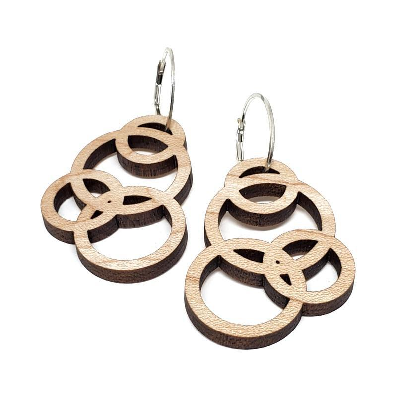 Earrings - Short Orbit Leverbacks Maple by Glass Elements