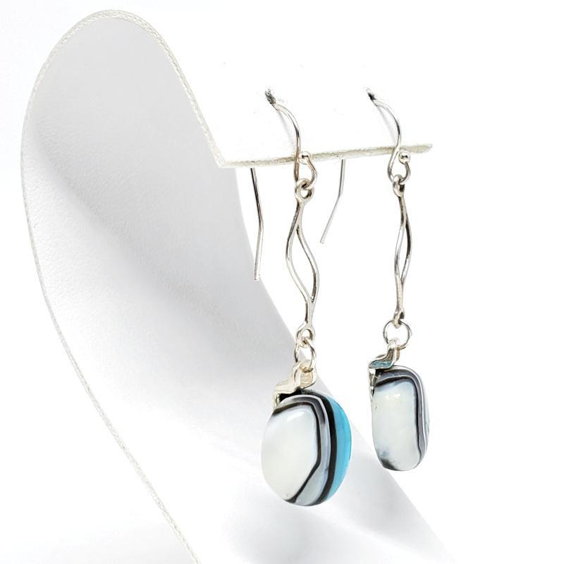 Earrings - French Hook Charm Beachy Blue Cream by Glass Elements