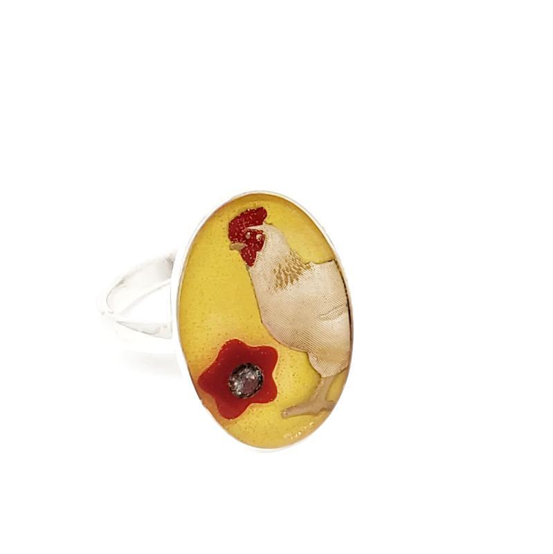 Ring - Size 9 - Yellow Chicken with 3mm Salt and Pepper Diamond SS by XV Studios