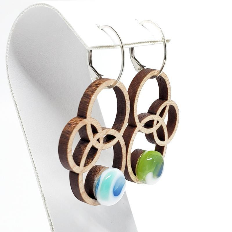Earrings - Large Orbit Maple Blue Green by Glass Elements